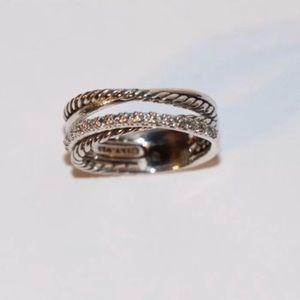 David Yurman Diamond & 925 Silver Crossover Ring